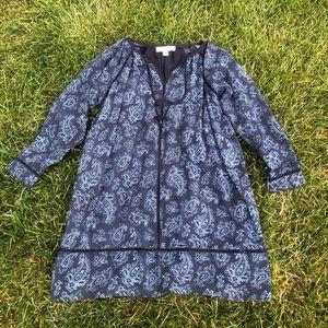 Michael Kors blue long sleeve paisley dress